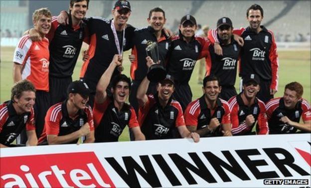 England celebrate with the Twenty20 trophy