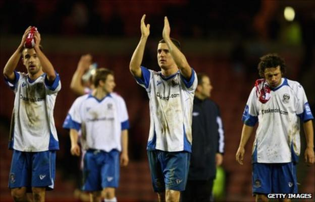 Barrow players applaud the fans after the defeat by Sunderland in the 2010 FA Cup.