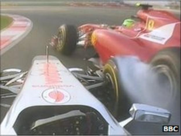 Lewis Hamilton and Felipe Massa collide during the Indian Grand Prix