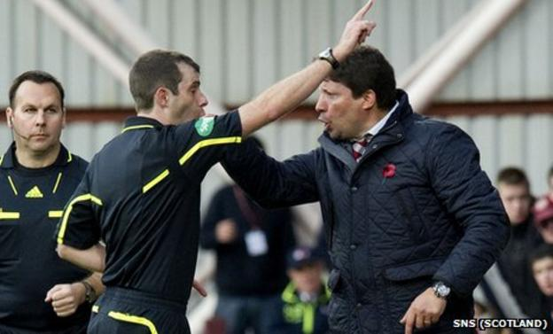 Hearts manager Paulo Sergio was sent off by referee Alan Muir