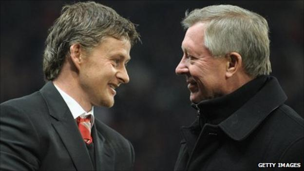 Molde and Manchester United managers Ole Gunnar Solskjaer and Sir Alex Ferguson