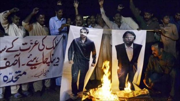 Pictures of Salman Butt and Mohammad Asif are burnt in Pakistan