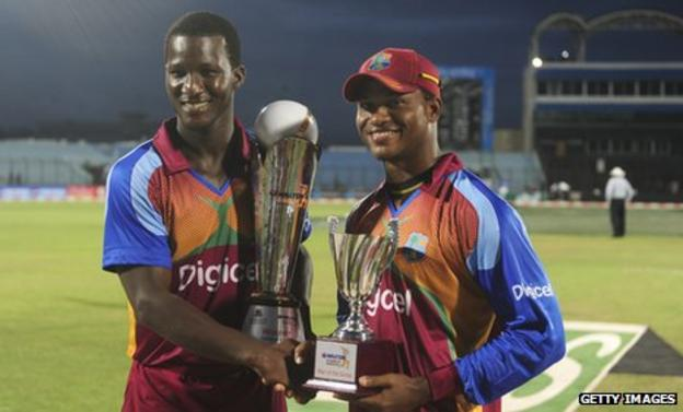 West Indies captain Darren Sammy and batsman Marlon Samuels with the one-day series trophy