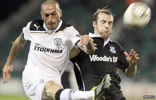 Bruno Cirillo of PAOK Salonika competes with Shamrock Rovers' Karl Sheppard