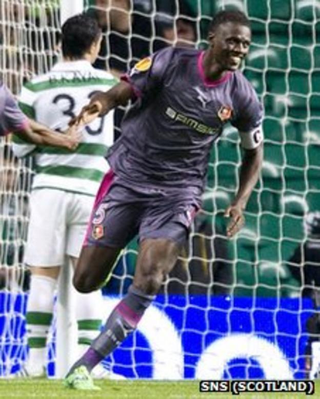 Kader Mangane celebrates after scoring for Rennes against Celtic