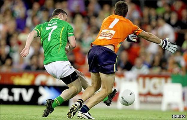 Leighton Glynn scores Ireland's goal at the Metricon Stadium