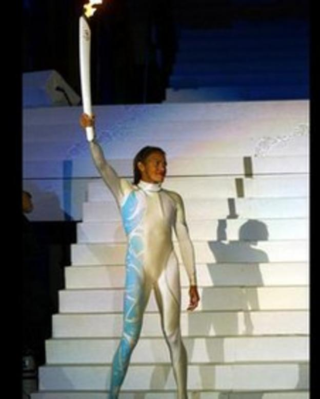 Cathy Freeman lit the flame at the Sydney Olympics opening ceremony