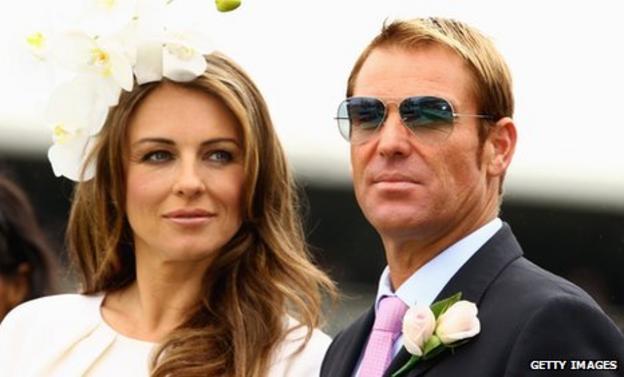 Shane Warne (right) with fiancee Elizabeth Hurley