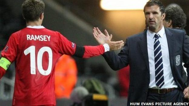 Wales captain Aaron Ramsey and manager Gary Speed
