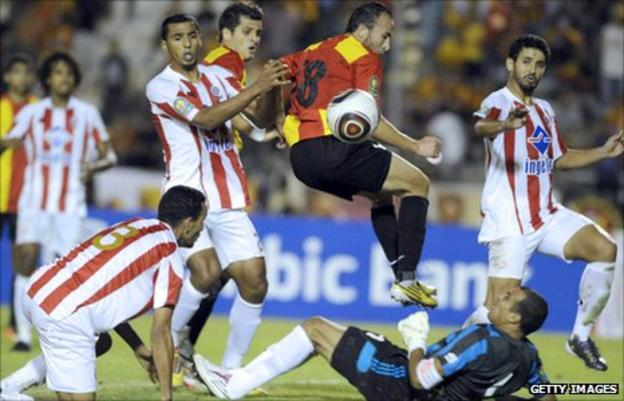Action from a game between Wydad Casablanca and Esperance