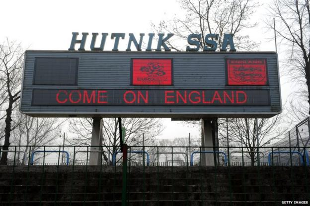 Scoreboard at Hutnik Municipality Stadium in Krakow, Poland