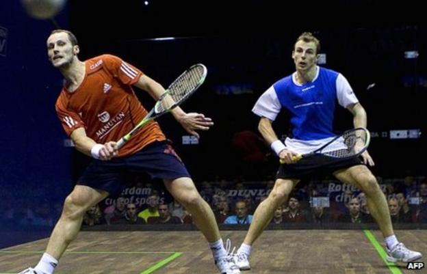 Gregory Gaultier (left) in action against Nick Mathew