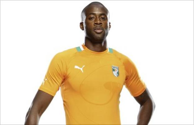Yaya Toure at the launch of Ivory Coast's Puma kit for the Africa Cup of Nations
