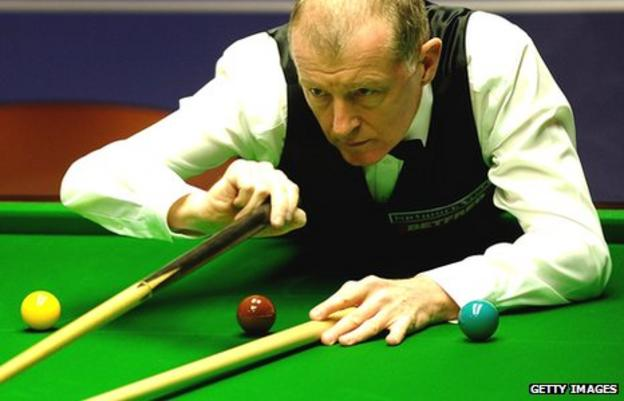 Steve Davis plays a shot with the rest during the 2010 World Championship