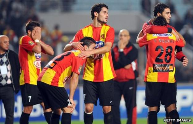 Esperance players react after being beaten in the final of the African Champions League by TP Mazembe in 2010