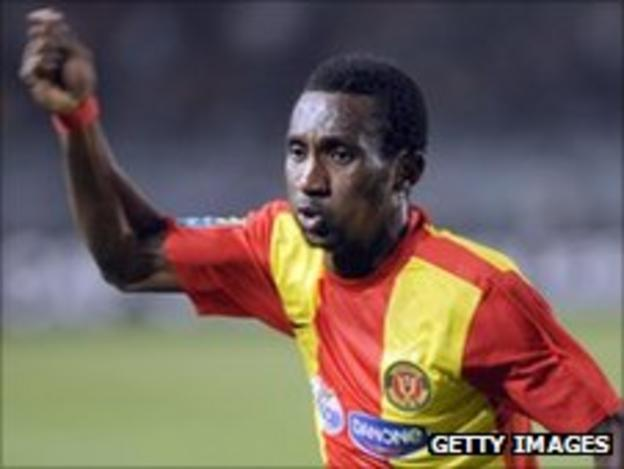 Harrison Afful of Esperance and Ghana celebrates scoring in the second leg of the final of the African Champions League