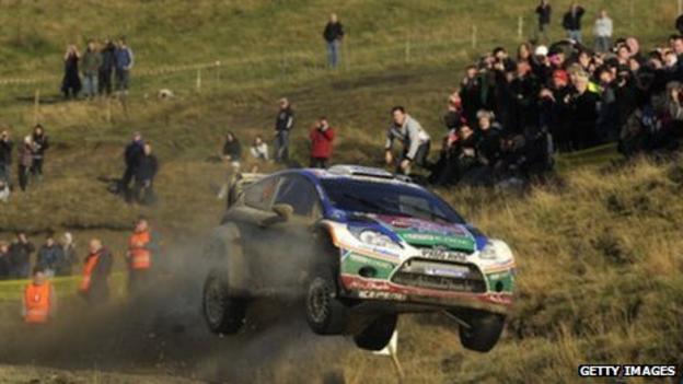 Jari-Matti Latvala takes his Ford Fiesta airborne during the Wales Rally GB
