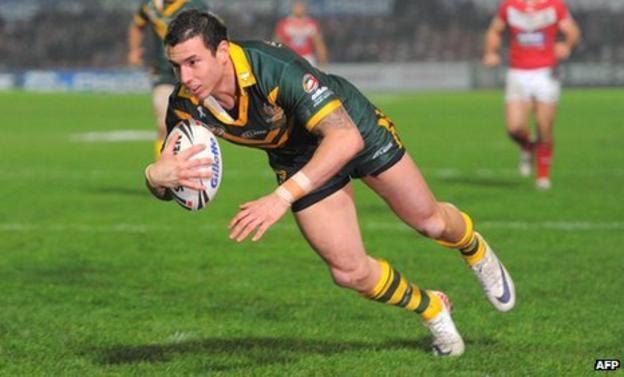 Darius Boyd scores for Australia against Wales
