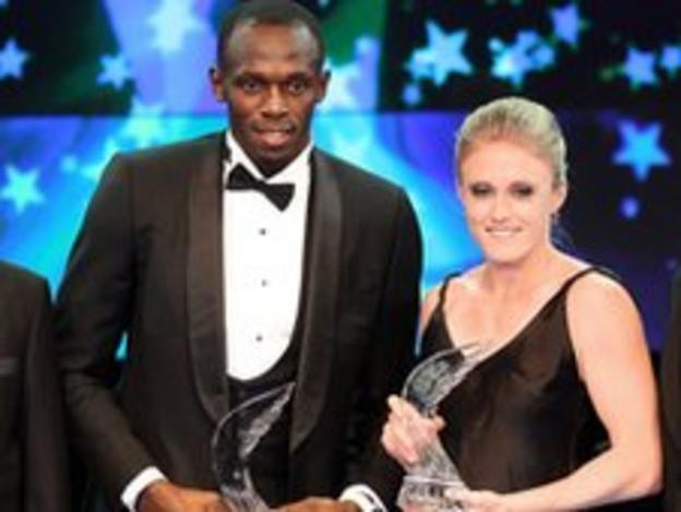 Usain Bolt and Sally Pearson