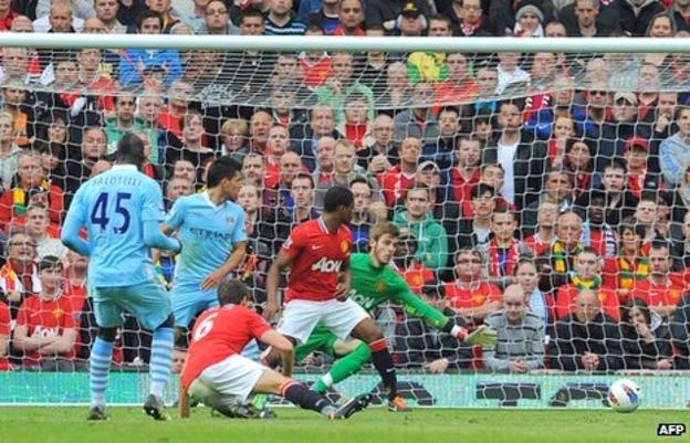 Mario Balotelli scores against Manchester United