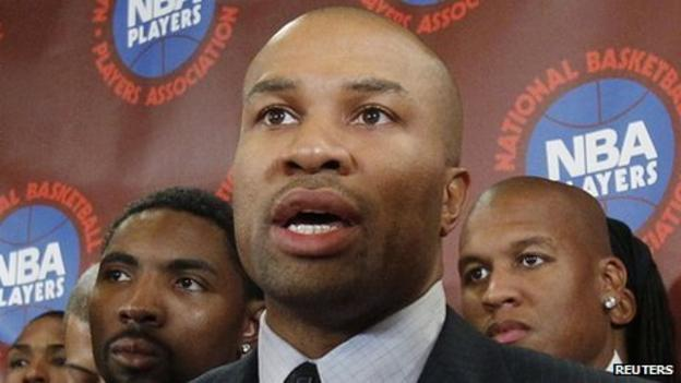 President of the NBA Players' Association Derek Fisher of the Los Angeles Lakers