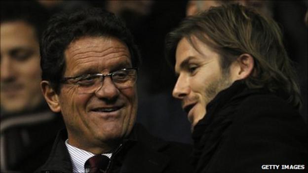 England coach Fabio Capello and David Beckham