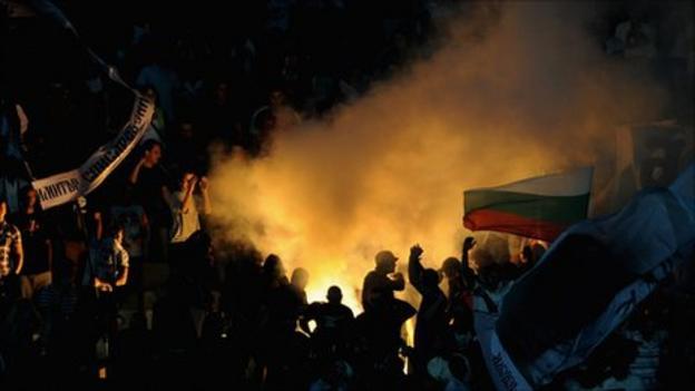 Bulgaria fans lit flares during the match at the Vasil Levski National Stadium