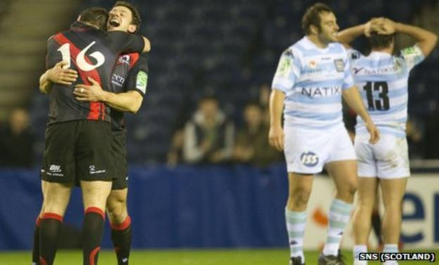 Edinburgh celebrate their incredible win over Racing Metro 92