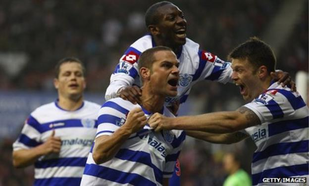 Luke Young scores Queens Park Rangers' second goal against Stoke