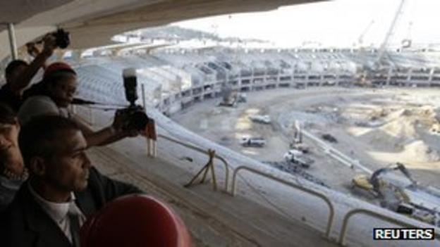 Brazil's congressman and former football star Romario visits the Maracana Stadium on 10 October 2011