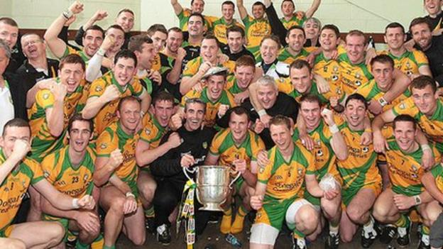 Donegal celebrate after winjning the Ulster SFC title in July