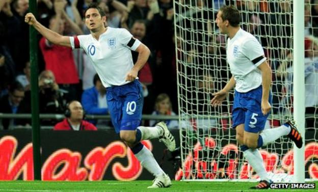 England's Frank Lampard and Phil Jagielka