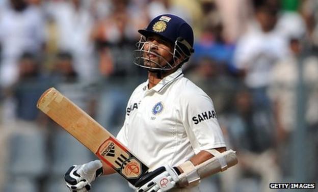 Sachin Tendulkar after his dismissal