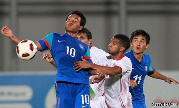Jeje Lalpekhlua (far left) and Sunil Chhetri (far right) will have trials at Rangers