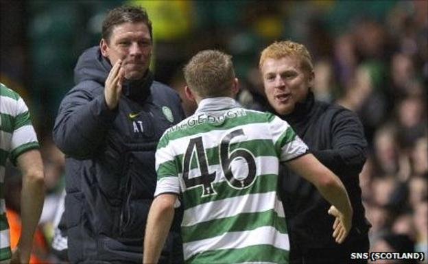 Alan Thompson and Neil Lennon congratulate Dylan McGeough