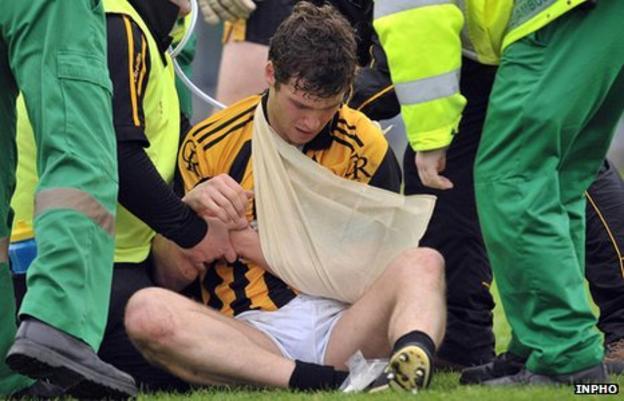 Paul Kernan gets treatment during Crossmaglen's game against St Gall's