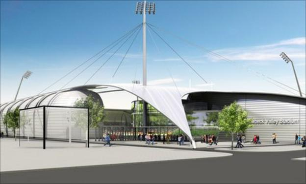 Artists impression of the Pow Beck Valley Community Stadium