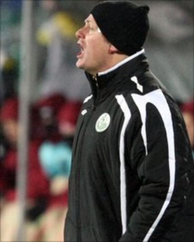 Shamrock assistant manager Jim Magilton delivers instructions in Kazan
