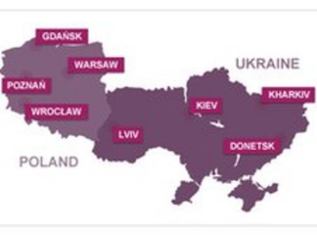 Euro 2012 venues map
