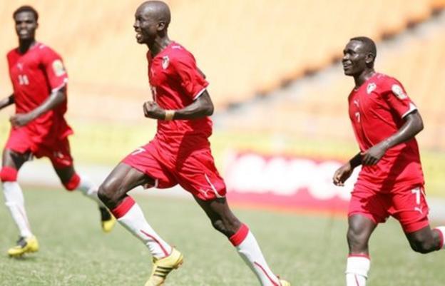 Sudan players celebrate goal against Kenya