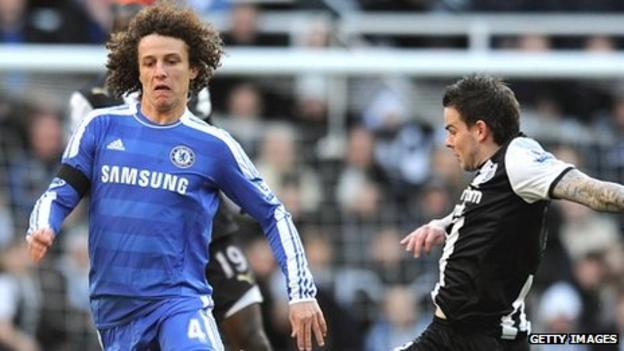 David Luiz (left) and Danny Guthrie (right) during Saturday's game