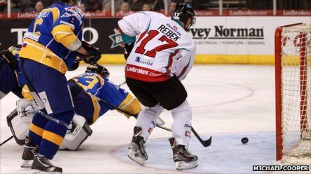 Jeremy Rebek scores for the Giants against Hull at the Odyssey
