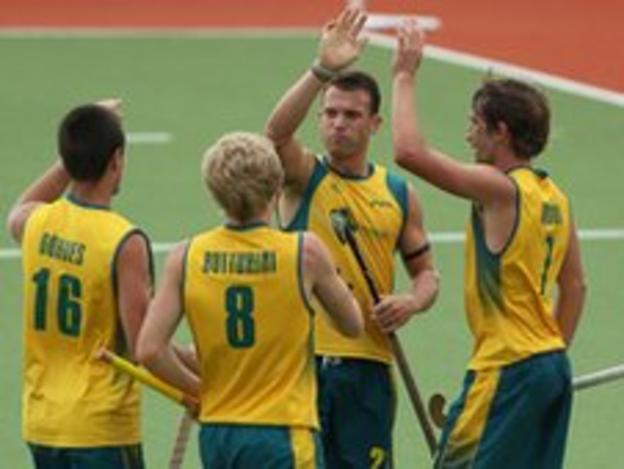Australia celebrate a goal in their 4-1 win over Great Britain