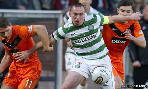 Celtic midfielder Scott Brown in action at Tannadice