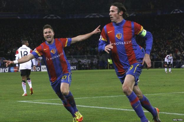 Marco Streller (right) scores for Basel
