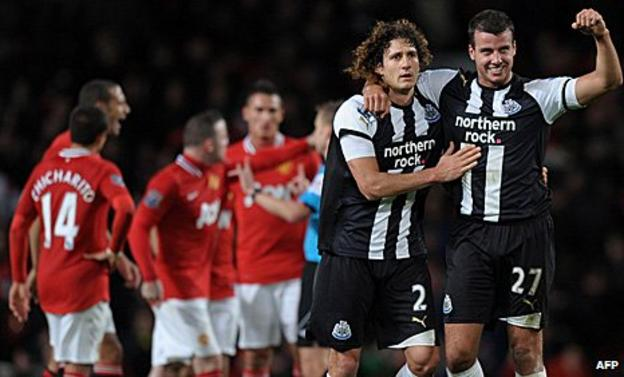 Steven Taylor (right) celebrates for Newcastle against Manchester United