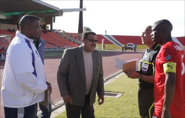 NFA official Barry Rukoro (left), Caf's match commissioner, referee Jerome Damon and the captain of Namibia
