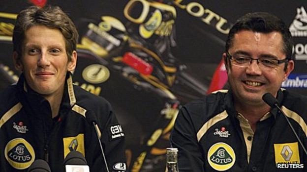 Romain Grosjean and Lotus Renault team boss Eric Boullier