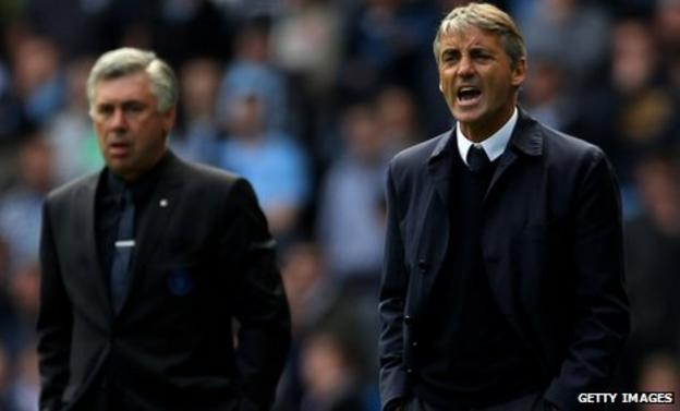 Mancini, right, was sad to see Chelsea sack manager Carlo Ancelotti, left, but is a big fan of Andre Villas-Boas
