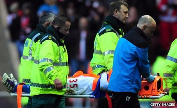 Ryan Lowe is stretchered off